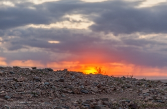 Аркаим. Вершина Шаманки на фоне заходящего солнца