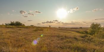 Заповедник Аркаим. Закат солнца. Вид с вершины горы Шаманки