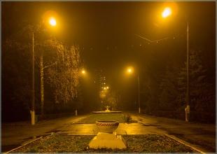 Туман. Вечернее фото Автозаводского парка. Нижний Новгород