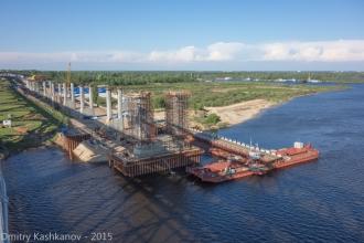 Опоры нового Борского моста на левом берегу Волги