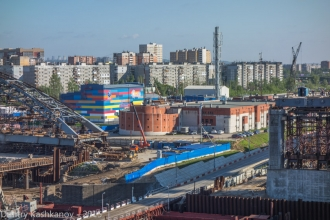 Новый Борский мост. Строительная площадка на правом берегу Волги