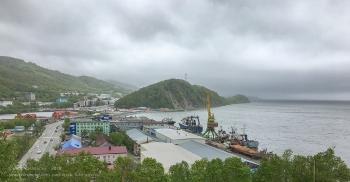 Вид от Морского собора Петропавловска-Камчатского. Авачинская бухта, Никольская сопка