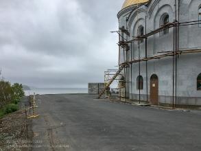 Петропавловск-Камчатский. Строительство Морского собора. Вид на Авачинскую бухту