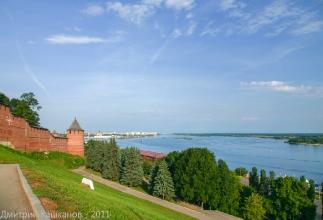 Вид от Чкаловской лестницы на Кремль и Волгу
