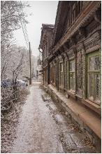 Резные деревянные фасады. Старые деревянные дома по улице Славянской в Нижнем Новгороде