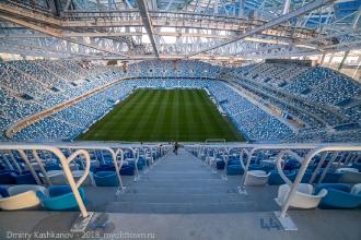 Вид с верхней трибуны на поле стадиона Нижний Новгород