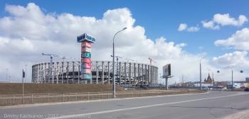 Строительство стадиона. Фото с улицы Карла Маркса. Нижний Новгород