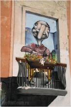 Большая Печерская улица в Нижнем Новгороде. Фото. Нарисованное окно