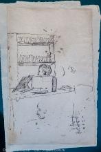 Рисунок Пушкина. Рабочий кабинет в Большом Болдино